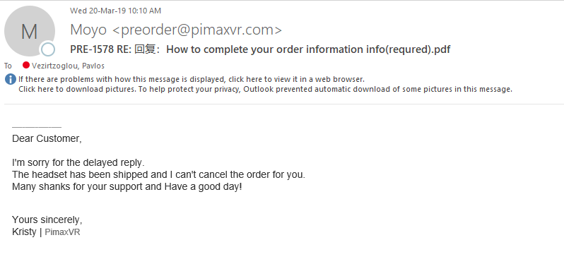Cancel of P123191 order - General discussion - Pimax Forums